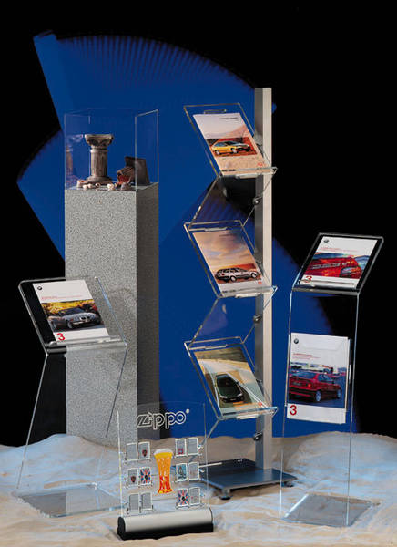 Lösungen aus Plexiglas, Acrylglas, Makrolon, Polycarbonat, Bearbeitung für Ladenbau, Messebau, Sicherheit, Displays und Schutzvorrichtungen